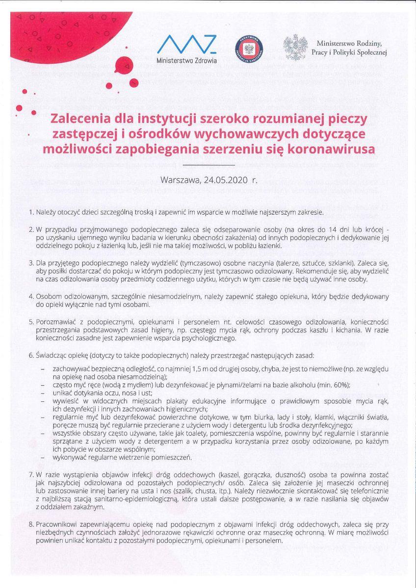 zalecenia dla instytucji pieczy zastępczej i ośrodków wychowawczych
