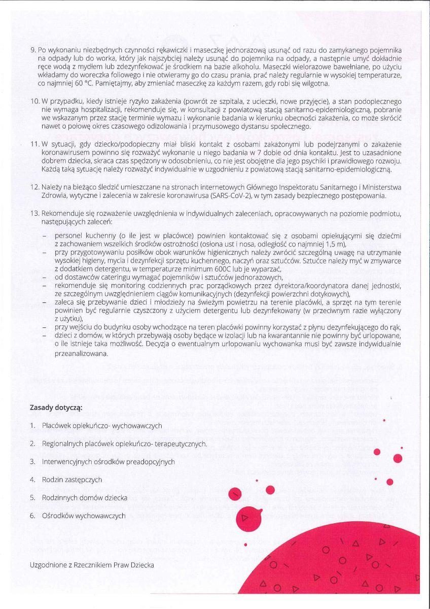 zalecenia dla instytucji pieczy zastępczej i ośrodków wychowawczych cd.
