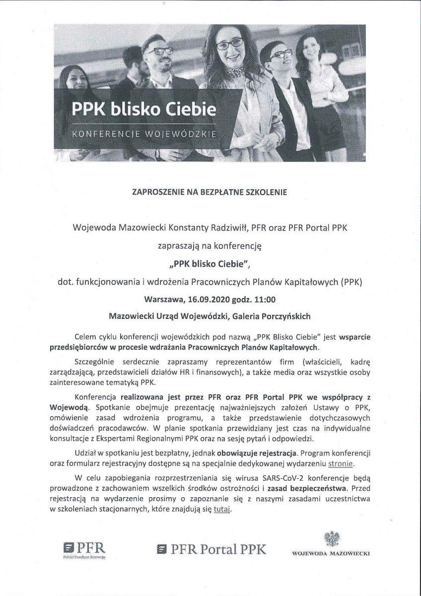 Zaproszenie na Konferencję PPK blisko Ciebie